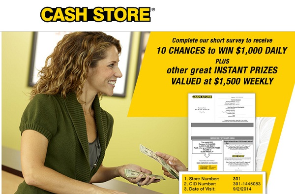 Cash Store Survey Sweepstakes